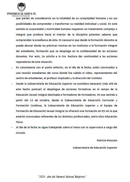 """""""Se observan expresiones inadecuadas, misóginas y ofensivas"""", manifestó el documento del Ministerio de Educación."""